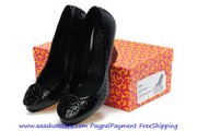 Wholesale Tory Burch Sally Wedge Black Patent Leather Lady Shoes Free