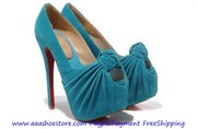 Christian Louboutin Lady Gres Platform Red Sole Peeptoe Pump 160mm Blu