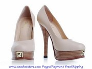 Wholesale Fendi Beige Leather Logo Platform Pumps Free shipping Paypal
