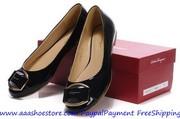 Wholesale Salvatore Ferragamo The Fun Black Patent Leather Ballerina