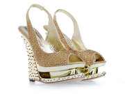 Wholesale Gianmarco Lorenzi Collector Golden Tone Crystal Wedge Shoes,