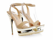 Gianmarco Lorenzi Nude Patent leather Platform Golden Stiletto Heels