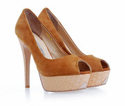 Sale Gianmarco Lorenzi Aqua Brown Suede Peep Toe Platform Pump