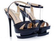 Come On!Gianmarco Lorenzi Black Cut Out Platform Sandal supply
