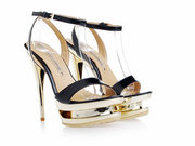 Supply Gianmarco Lorenzi Black Patent leather Platform Golden Stiletto