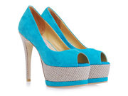 Gianmarco Lorenzi Aqua Green Suede Peep Toe Platform Pump Wholesale